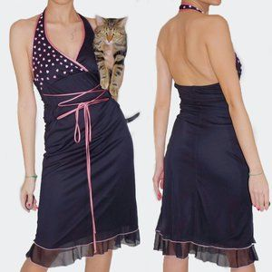 HAND-BEADED PINK BLACK DRESS CORSET PUNGLE HALTER